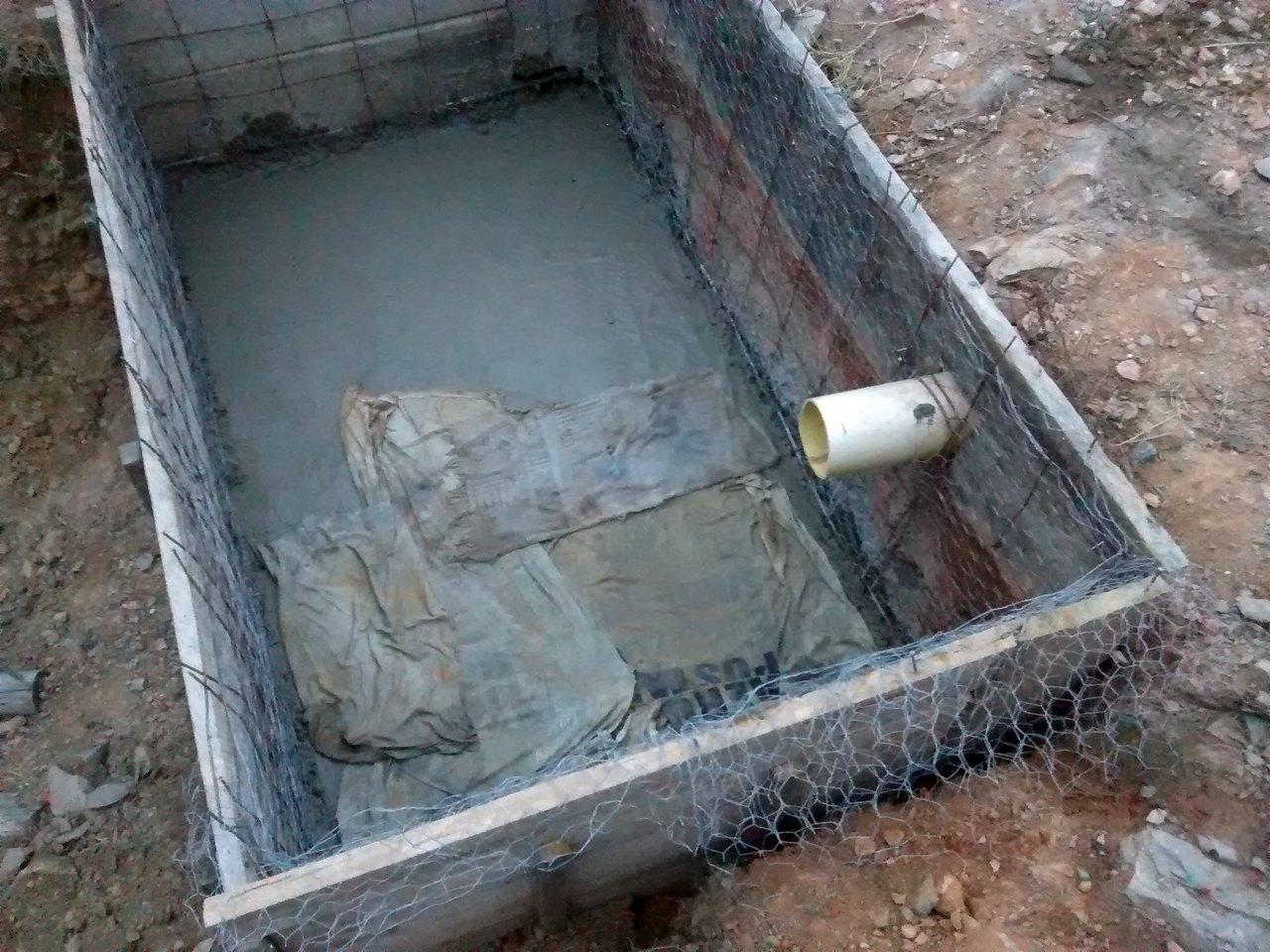 trapos curado concreto piso filtro aerobio